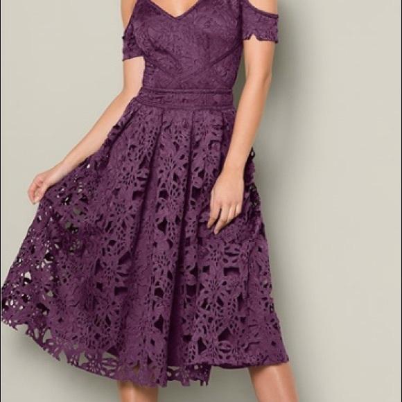 5456467fc4dc NWT Venus Lace Midi Dress Purple Strappy Shoulder